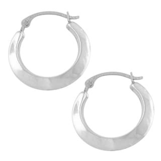 Fremada 10k White Gold Edged Hoop Earrings (2.35x13 mm)