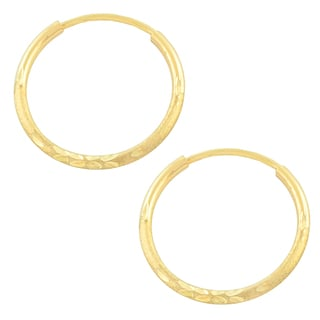 Fremada 10k Yellow Gold Diamond-cut Endless Hoop Earrings (1.3x16 mm)
