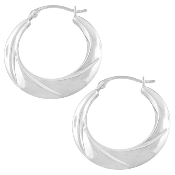 Fremada 10k White Gold Swirl Hoop Earrings (3x16 mm)