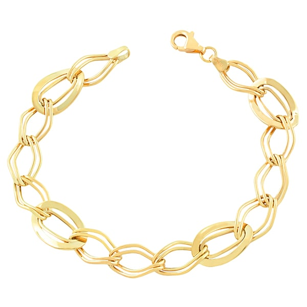 Fremada 10k Yellow Gold Wavy Oval Bracelet