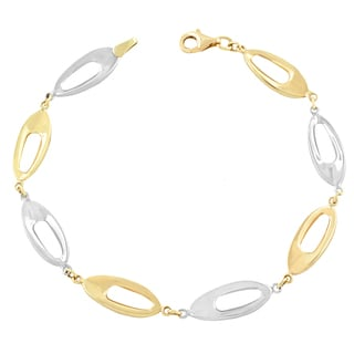 Fremada 10k Two-tone Gold Cut-out Lentil Bracelet (7.5 inch)