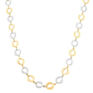 Fremada 10k Two-tone Gold Puffed Circle Necklace (18 inch)