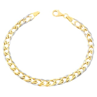 Fremada 10k Two-tone Gold Weave Chain Bracelet