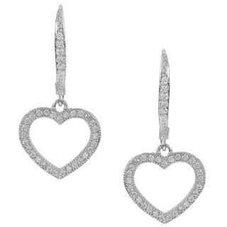 Journee Collection Silver-tone Cubic Zirconia Heart Dangle Earrings
