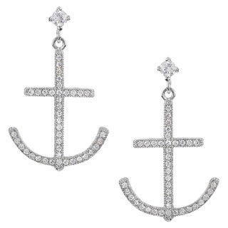 Journee Collection Silver-tone Cubic Zirconia Anchor Dangle Earrings