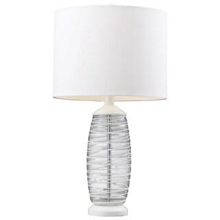 HGTV HOME Blown Glass 1-light Clear/ White Table Lamp