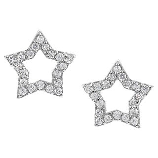 Journee Collection Silver-tone Cubic Zirconia Star Stud Earrings