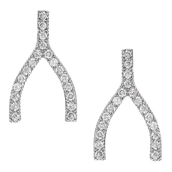 Journee Collection Silver-tone Cubic Zirconia Wishbone Stud Earrings