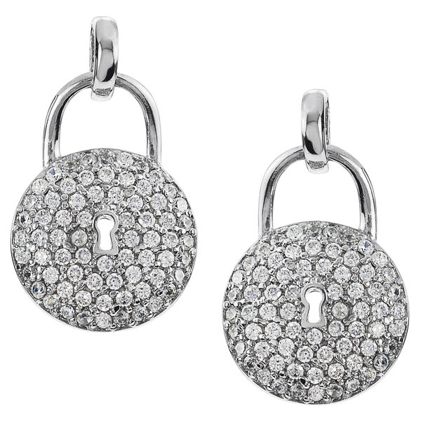 Journee Collection Cubic Zirconia Lock Dangle Earrings