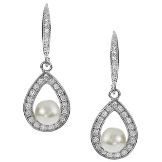 Journee Collection Cubic Zirconia Faux Pearl Drop Earrings