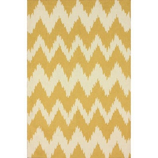 nuLOOM Handmade Modern Ikat Chevron Yellow Rug (4' x 6')