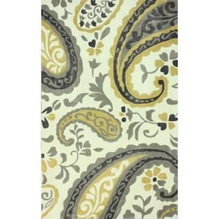 nuLOOM Handmade Modern Paisley Olive Rug (7'6 x 9'6)