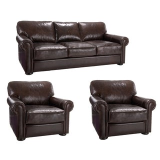 Brompton Cocoa Brown Italian Leather Oversize Sofa and Two Chairs