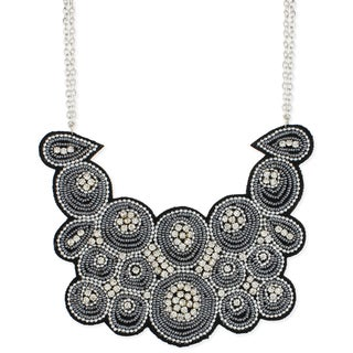 Handcrafted Rhinestones and Seed Beads Bib Necklace (India)