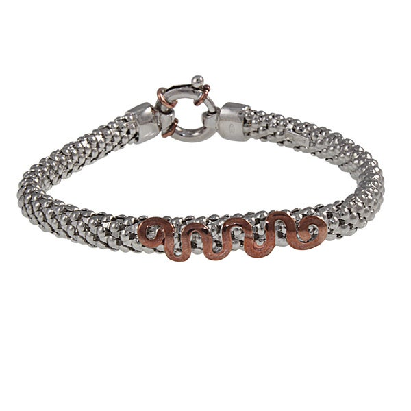 Sterling Silver Popcorn with Rose Gold Accents Bangle Bracelet (Italy)