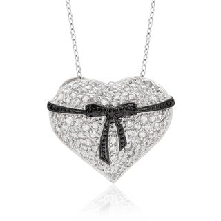 Dolce Giavonna Sterling Silver Gemstone and Diamond Accent Heart Necklace