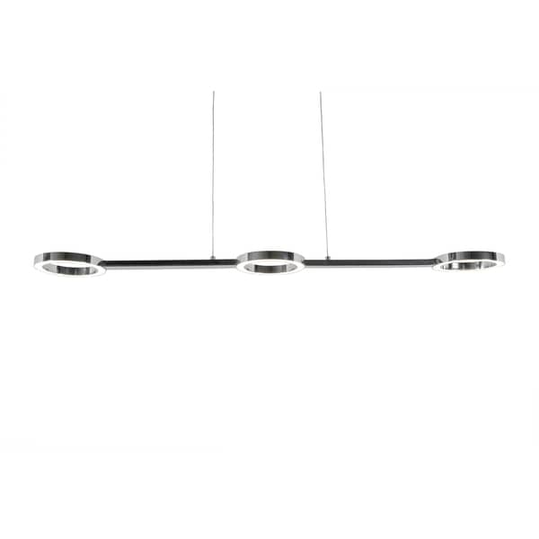 Alternating Current Halo 3-Light LED Polished Chrome Linear Pendant
