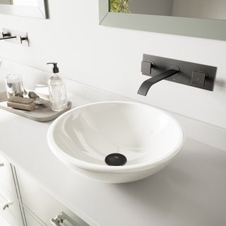 VIGO White Phoenix Stone Glass Vessel Sink with Antique Rubbed Bronze Wall Mount Faucet