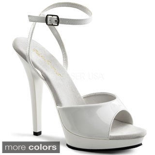 Pleaser Women's 'Lip-125' Patent Leather Ankle Strap Peep-toe Sandals