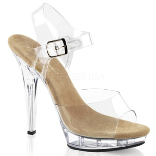 Pleaser Women's 'Lip-108' Clear Stiletto Heel Ankle Strap Sandals