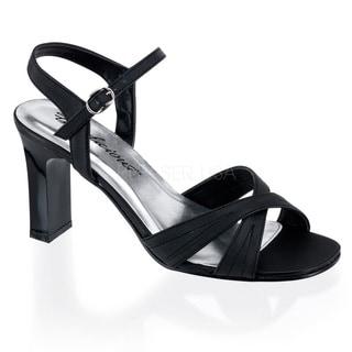 Pleaser Women's 'Romance-313' Black Satin Square Heel Sandals
