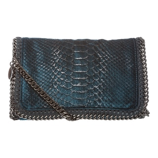 Stella McCartney Blue Snake-embossed Velvet Crossbody