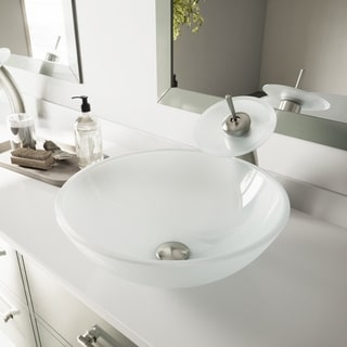 VIGO White Frost Glass Vessel Sink and Waterfall Faucet Set in Brushed Nickel