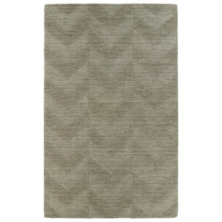 Hand Carved Light Brown Chevron Wool Rug (9'6 x 13'6)