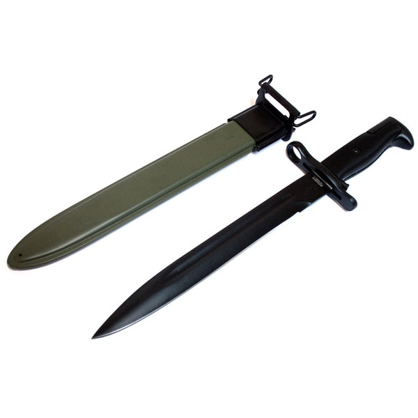 Defender M1 Rifle Bayonet 14-inch Green Sheath Black Knife