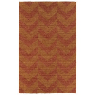 Hand Carved Paprika Chevron Wool Rug (9'6 x 13'6)