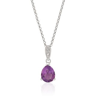 Dolce Giavonna Sterling Silver Gemstone and Diamond Accent Pear Shape Necklace