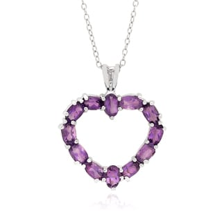 Dolce Giavonna Sterling Silver Gemstone Heart Necklace