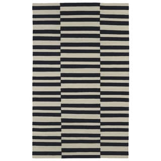 Flatweave TriBeCa Black Stripes Wool Rug (8' x 10')