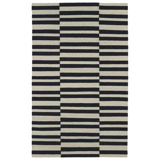 Flatweave TriBeCa Black Stripes Wool Rug (5'0 x 8'0)