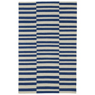 Flatweave Tribeca Blue Stripes Wool Rug (5' x 8')