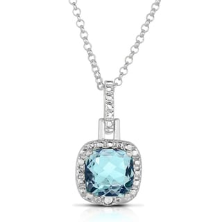 Dolce Giavonna Silver Overlay Gemstone and Diamond Accent Square Necklace (I-J, I2-I3)