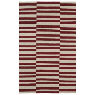 Flatweave Tribeca Red Stripes Wool Rug (9' x 12')