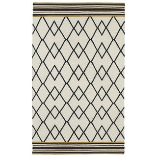 Flatweave TriBeCa Ziggy Black Wool Rug (9'0 x 12'0)