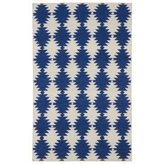 Flatweave TriBeCa Blue Wordly Wool Rug (5' x 8')