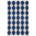 Flatweave Tribeca Blue Wordly Wool Rug (5' x 8')