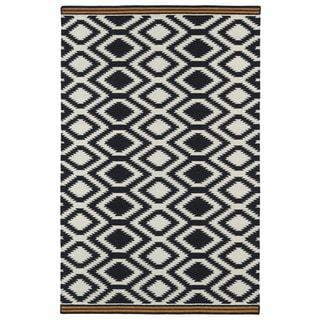 Flatweave TriBeCa Black Geo Wool Rug (9' x 12')