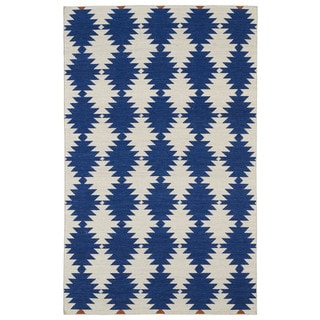 Flatweave Blue Wordly Wool Rug (8' x 10')
