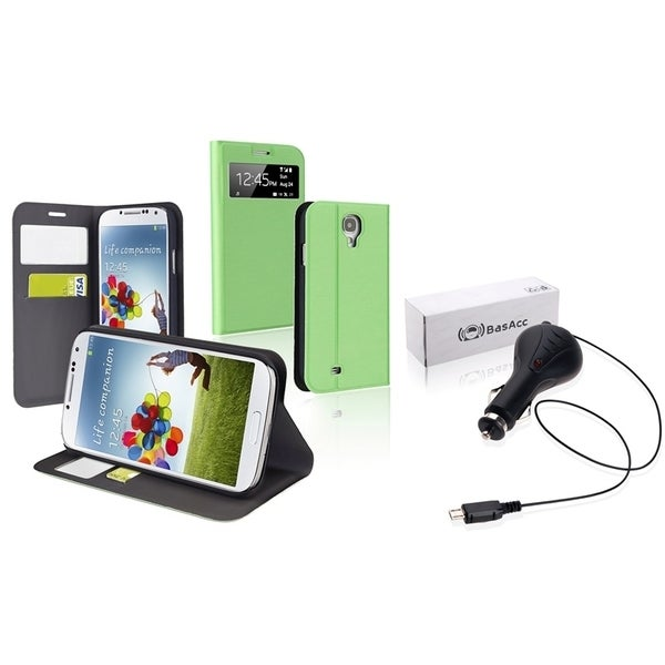 BasAcc Car Charger/ Leather Case for Samsung Galaxy S4 i9500