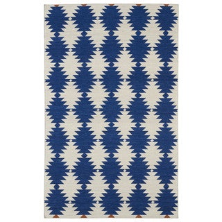 Flatweave Blue Wordly Wool Rug (9' x 12')