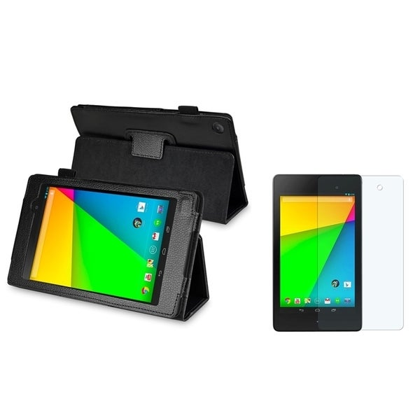 BasAcc Black Leather Case/ Screen Protector for Google New Nexus 7