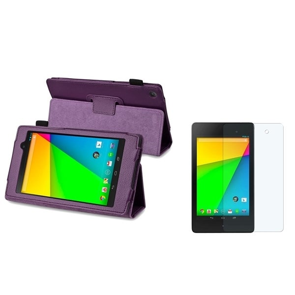 BasAcc Purple Leather Case/ Screen Protector for Google New Nexus 7