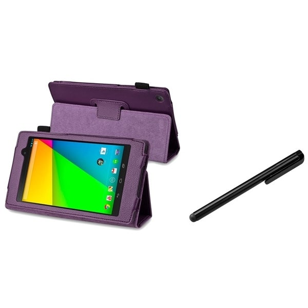 BasAcc Purple Leather Case/ Black Stylus for Google New Nexus 7