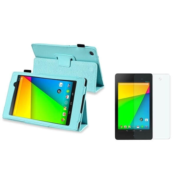 BasAcc Leather Case/ Anti-glare LCD Protector for Google New Nexus 7