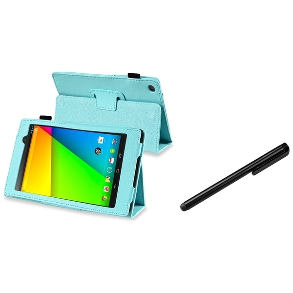 BasAcc Sky Blue Leather Case/ Black Stylus for Google New Nexus 7