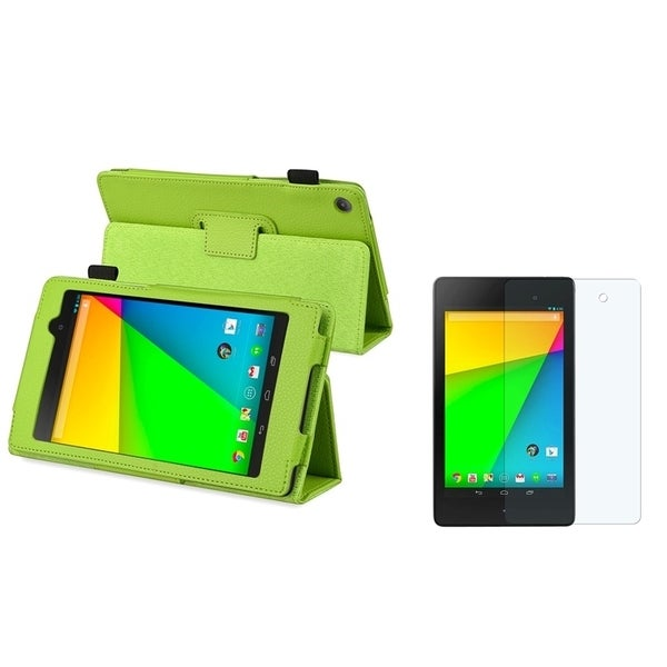BasAcc Green Leather Case/ Screen Protector for Google New Nexus 7